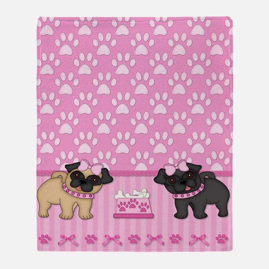 Pug Cuties Pink Stripes and Paws Throw Blanket