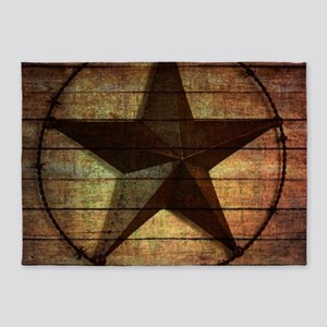 barn wood texas star 5'x7'Area Rug