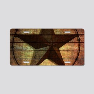barn wood texas star Aluminum License Plate