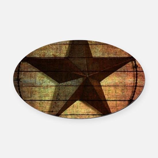 barn wood texas star Oval Car Magnet