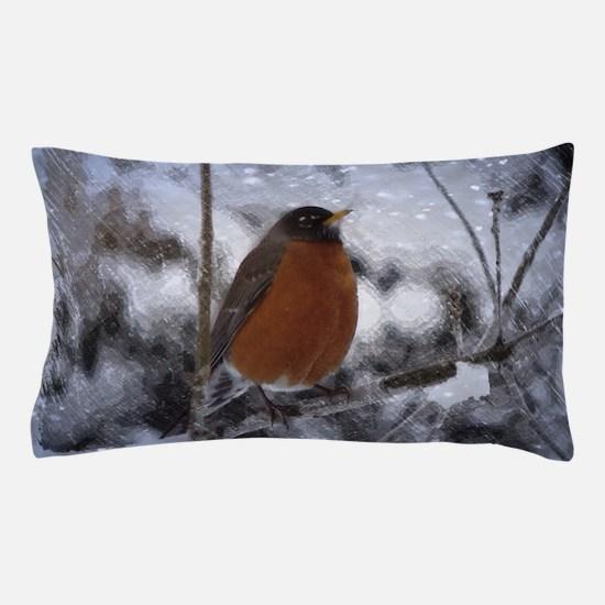 nature winter robin bird Pillow Case