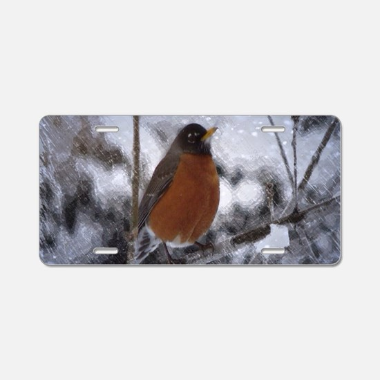 nature winter robin bird Aluminum License Plate