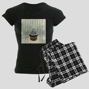 retro pattern cute cupcake Women's Dark Pajamas