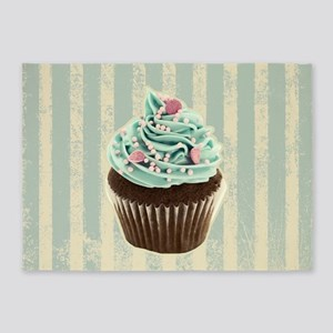 retro pattern cute cupcake 5'x7'Area Rug