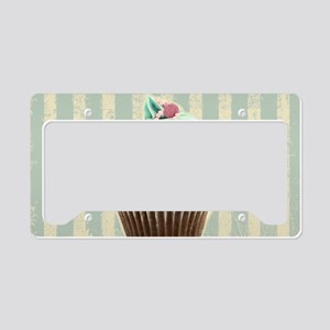 retro pattern cute cupcake License Plate Holder
