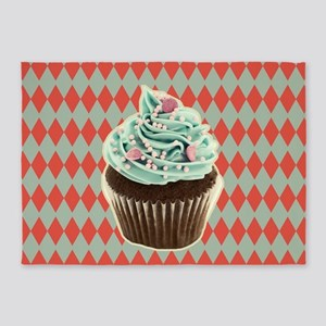 retro Diamond Pattern cupcake 5'x7'Area Rug