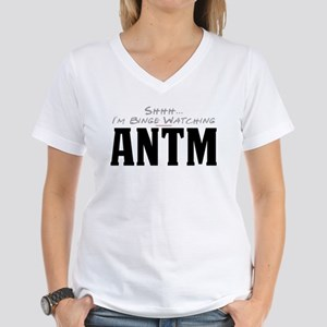 Shhh... I'm Binge Watching ANTM Women's V-Neck T-S