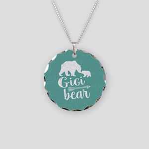 Gigi Bear Necklace Circle Charm
