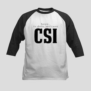 Shhh... I'm Binge Watching CSI Kids Baseball Jerse