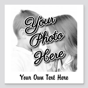 "CUSTOM Photo and Caption Square Car Magnet 3"" x 3"""