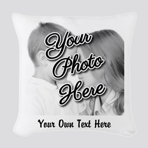 CUSTOM Photo and Caption Woven Throw Pillow