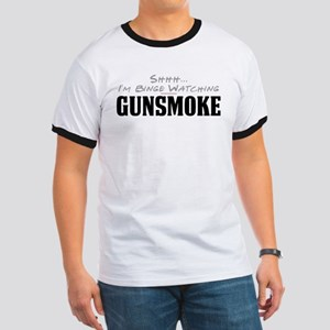 Shhh... I'm Binge Watching Gunsmoke Ringer T-Shirt