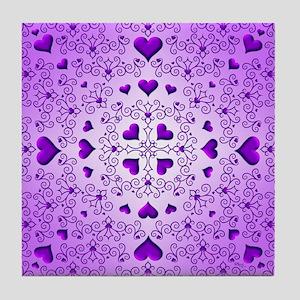 Purple Swirls and Hearts by Xennifer Tile Coaster