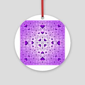 Purple Swirls and Hearts by Xennifer Ornament (Rou