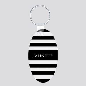 Personalized Black and Whit Aluminum Oval Keychain