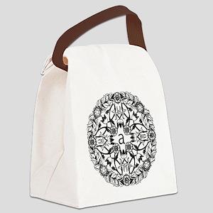 Elegant black and white initi Canvas Lunch Bag