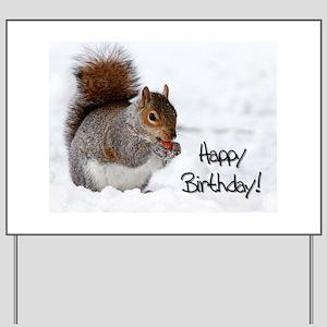 Happy Birthday Squirrel Yard Sign