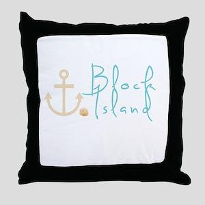 Block Island Script Throw Pillow