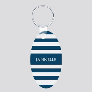 Blue and White Stripes Pers Aluminum Oval Keychain