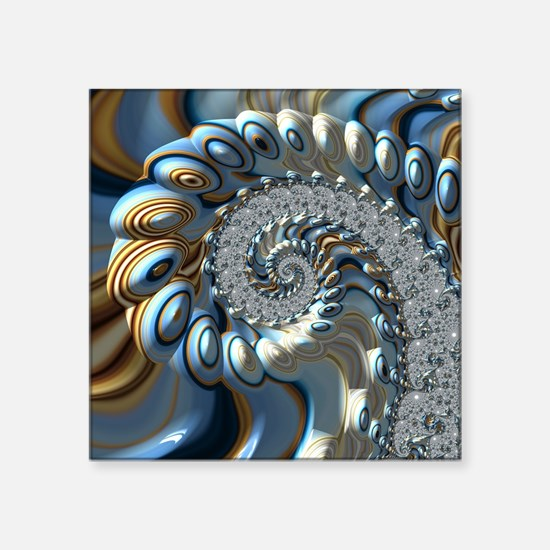 """Fractal Abstract Blue Gold Square Sticker 3"""" x 3"""""""
