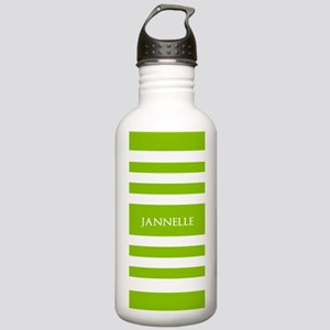 Green and White Stripe Stainless Water Bottle 1.0L