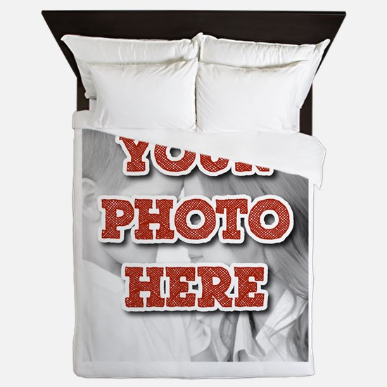 CUSTOM 8x10 Photo and Text Queen Duvet