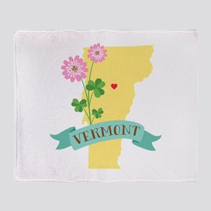 Vermont State Outline Red Clover Flower Throw Blan