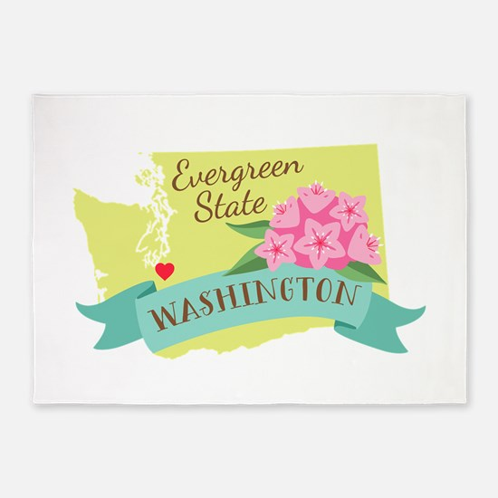 Washington Evergreen State Outline Rhododendron Fl