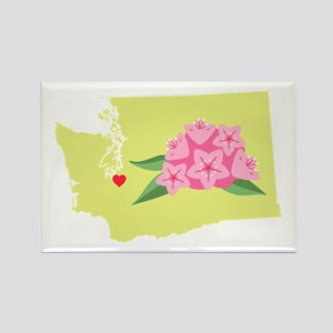 Washington State Outline Rhododendron Flower Magne