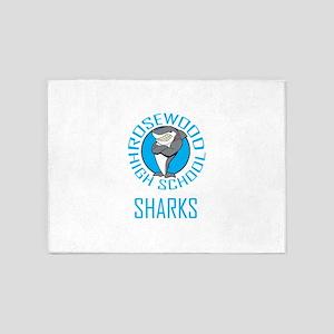 Rosewood Sharks PLL 5'x7'Area Rug
