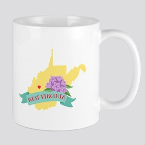 West Virginia State Outline Rhododendron Flower Mu