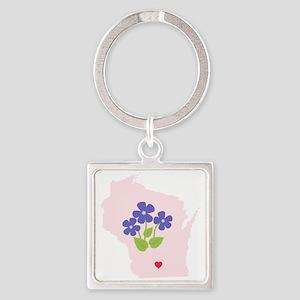 Wisconsin State Outline Violet Flower Keychains