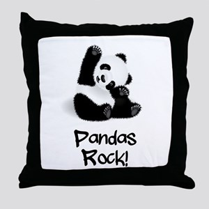 Panda's Rock! Throw Pillow