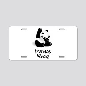 Panda's Rock! Aluminum License Plate