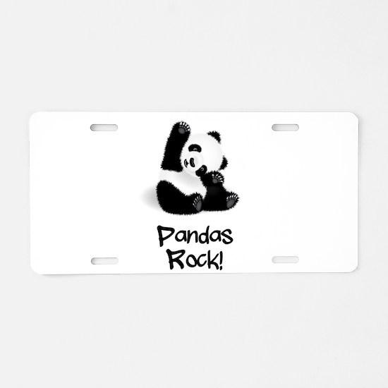 Panda's Rock! Aluminum License Plate