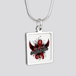 Sickle Cell Anemia Awarene Silver Square Necklace