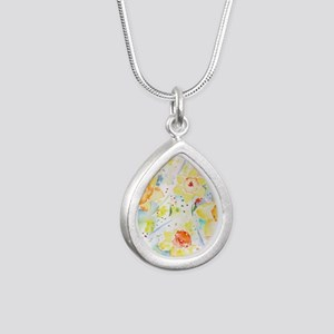Watercolor Daffodils Pat Silver Teardrop Necklace