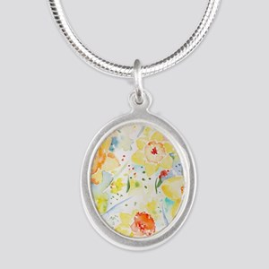 Watercolor Daffodils Pattern Silver Oval Necklace