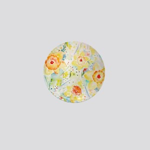 Watercolor Daffodils Pattern Mini Button