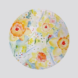 Watercolor Daffodils Pattern Round Ornament