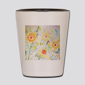 Watercolor Daffodils Pattern Shot Glass