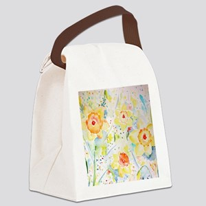 Watercolor Daffodils Pattern Canvas Lunch Bag