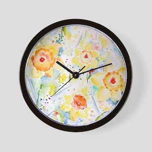 Watercolor Daffodils Pattern Wall Clock