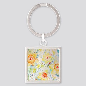 Watercolor Daffodils Pattern Square Keychain