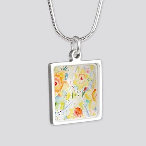 Watercolor Daffodils Patte Silver Square Necklace