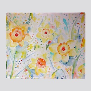 Watercolor yellow flowers daffodils  Throw Blanket