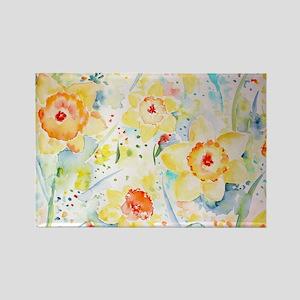 Watercolor yellow flowers daffodi Rectangle Magnet