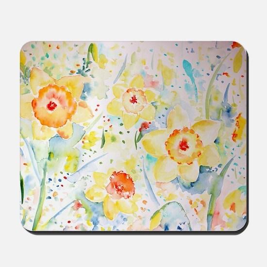 Watercolor yellow flowers daffodils patt Mousepad