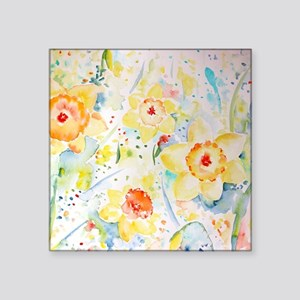 "Watercolor yellow flowers d Square Sticker 3"" x 3"""