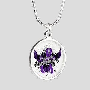 Sarcoidosis Awareness 16 Silver Round Necklace